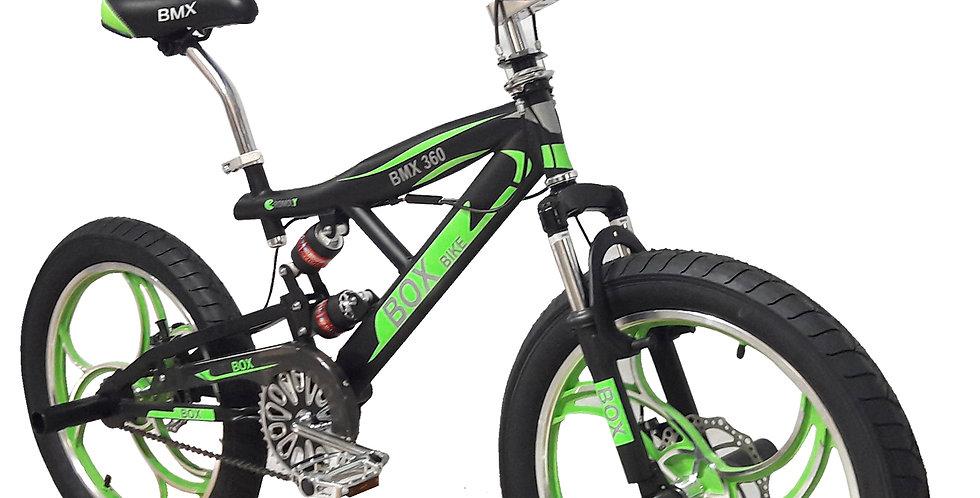 Bicicleta BMX 2021 Rampera Con  Triple Suspensión Aro 20 - Negro con Verde