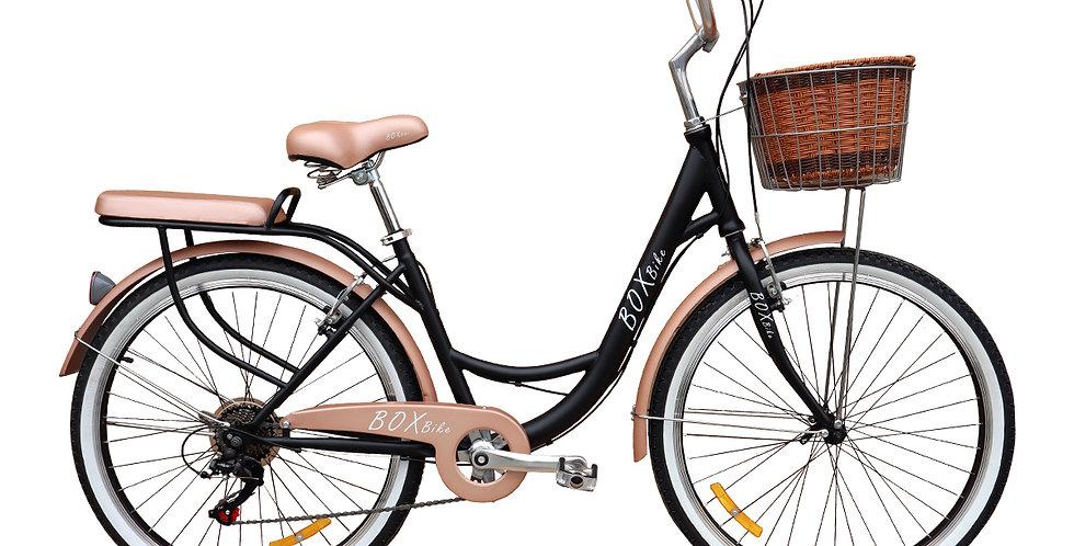 Bicicleta Box Vintage Aro 26 con Shimano Tourner - Negro con Marrón
