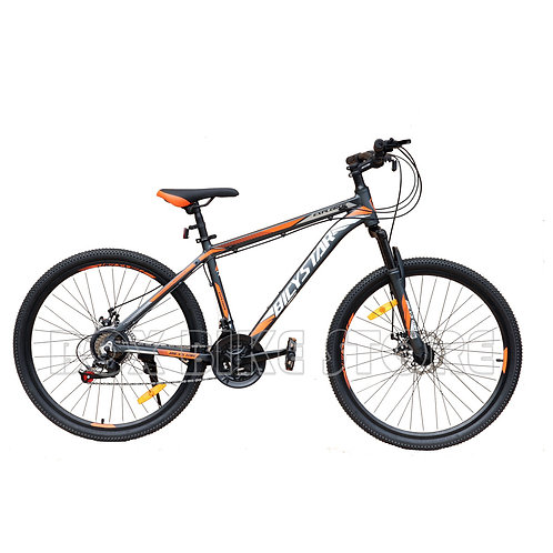 Bicicleta de Aluminio Modelo Bicystar Aro 26 -Negro con Naranja