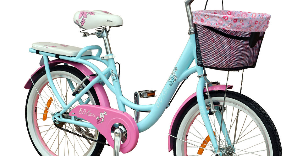 Bicicleta Box Bike Vintage Aro 20 - Celeste con Rosado