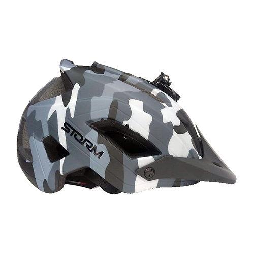 Casco para Ciclista Con Luz Posterior y Soporte para Gopro - Camuflado