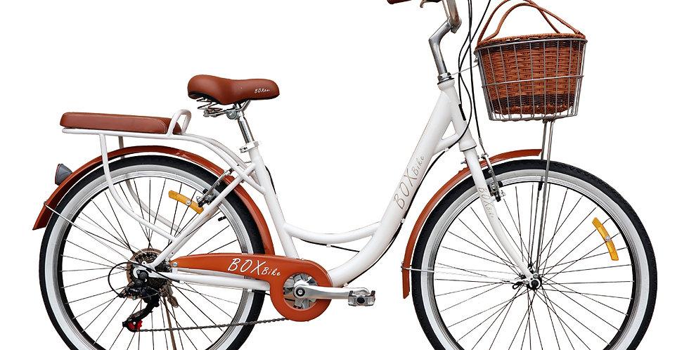 Bicicleta Box Vintage Aro 26 con Shimano Tourner - Blanco con Marrón
