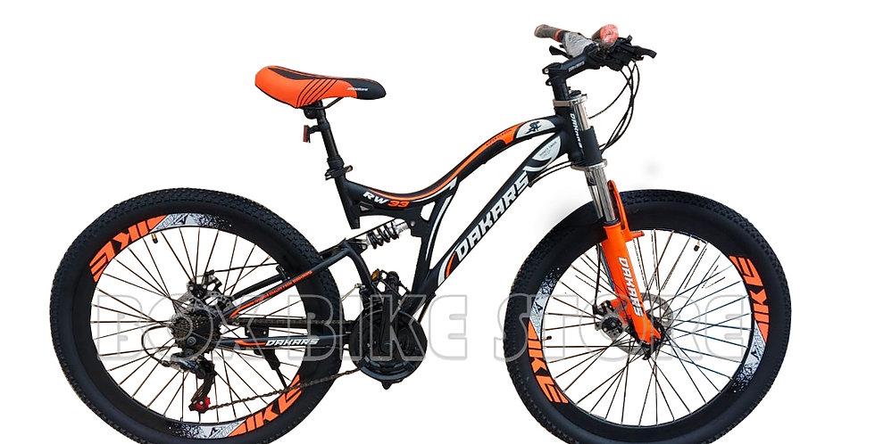 Bicicleta Mtb Aro 26 Doble Amortiguador Unisex - Naranja