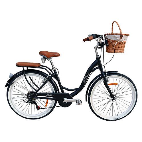 Bicicleta Box Bike Vintage Aros 26 con Shimano y Canasta de Mimbre - Negro