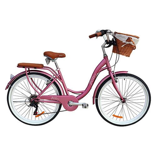 Bicicleta Box Bike Vintage Aros 26 con Shimano y Canasta de Mimbre - Rosado