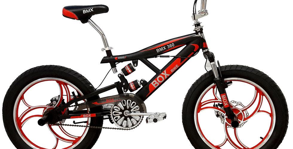 Bicicleta BMX con Suspensiones Aro 20 - Negro con Rojo