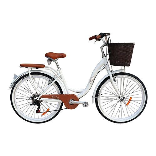 Bicicleta Box Bike Vintage Aros 26 con Shimano - Blanco con Marrón