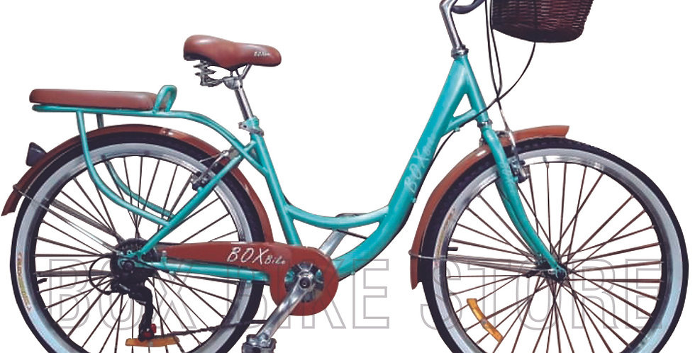 Bicicleta Box Bike Modelo Vintage Aros 24 - Verde con Marrón