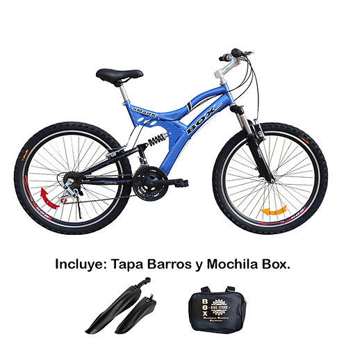Bicicleta Box Zeus Aro 26 Doble Amortiguador - Azul