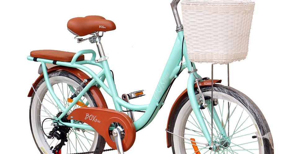 Bicicleta Box Bike con Shimano Vintage Aro 20 - Verde con Marrón