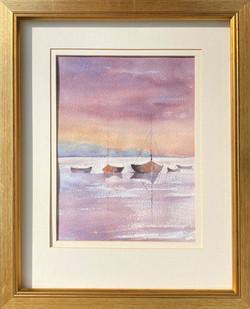 25F Gloria Richards Boats at Sunset