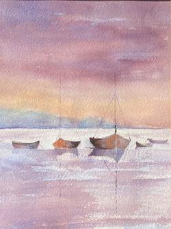 25 Gloria Richards Boats at Sunset