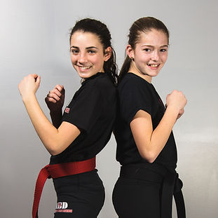 Teens practicing martial arts