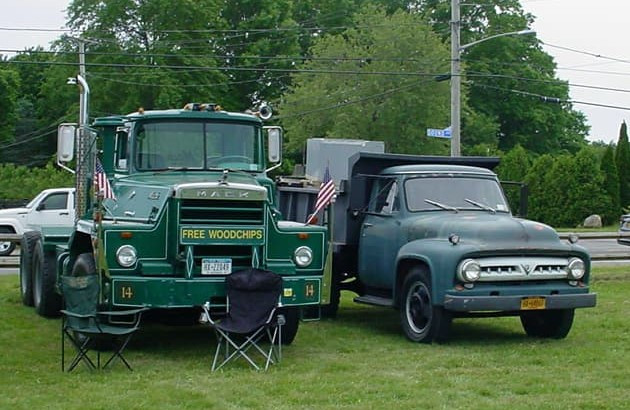 Joe Tavernese's 1967 Mack tractor & Joe Venth's 1953 Ford dump