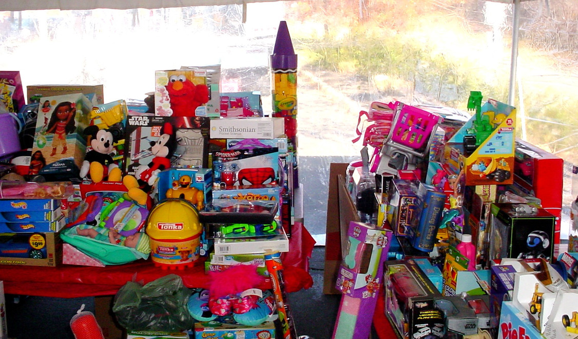 Some of the toys collected for the children