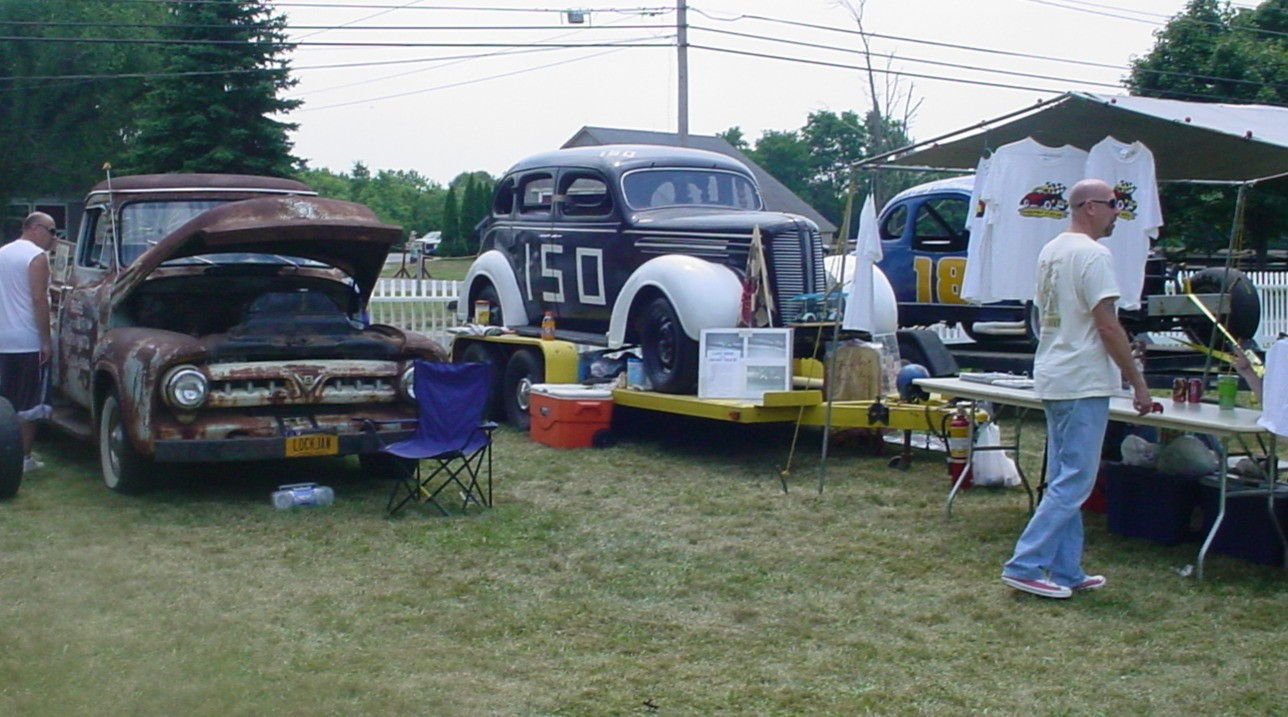 Race car & old Ford