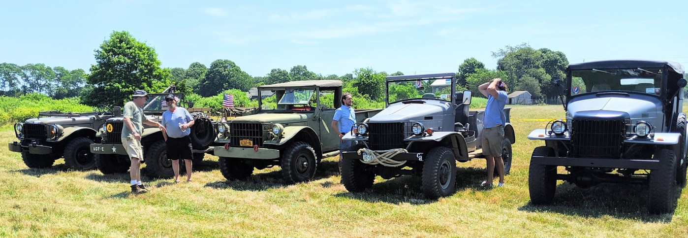 Line up of military vehicles