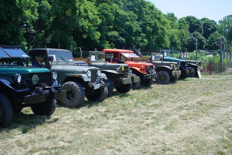 Military vehicles on display