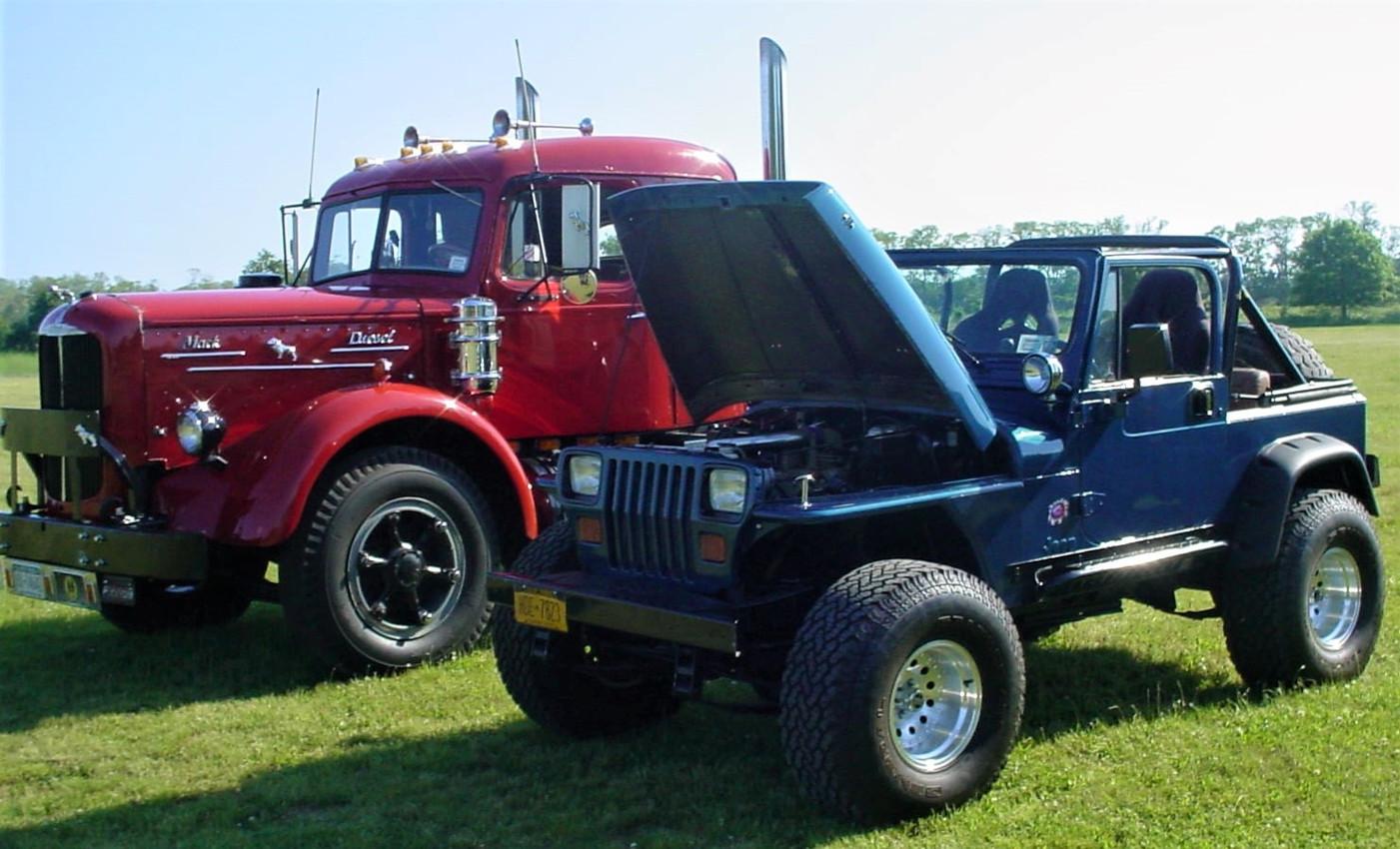 Jonathan Erb's 1949 Mack LJT tractor & 1988 YJ Jeep Wrangler w/Cummins diesel