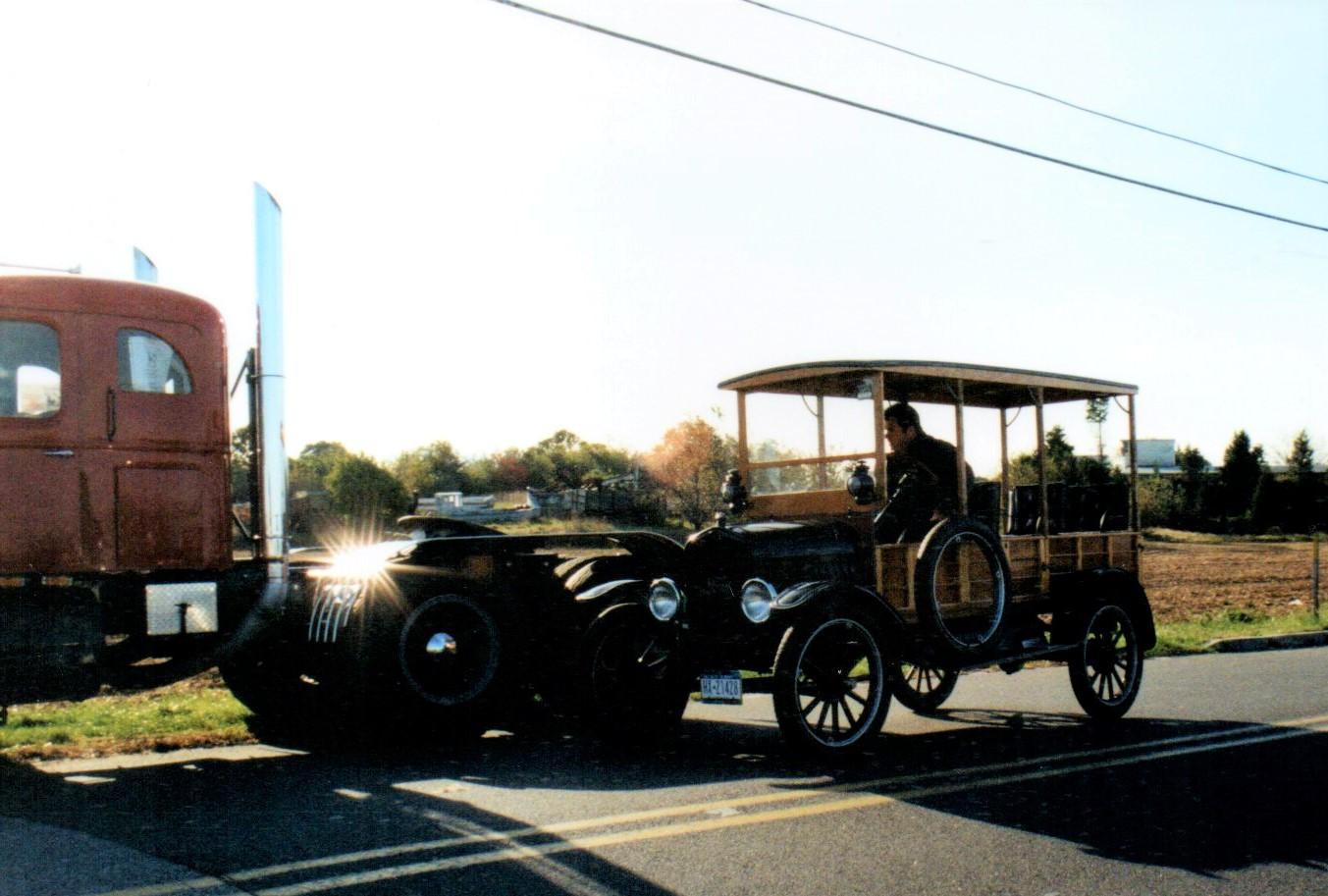 James Tavernese arriving in his 1924 Model T Depot Hack