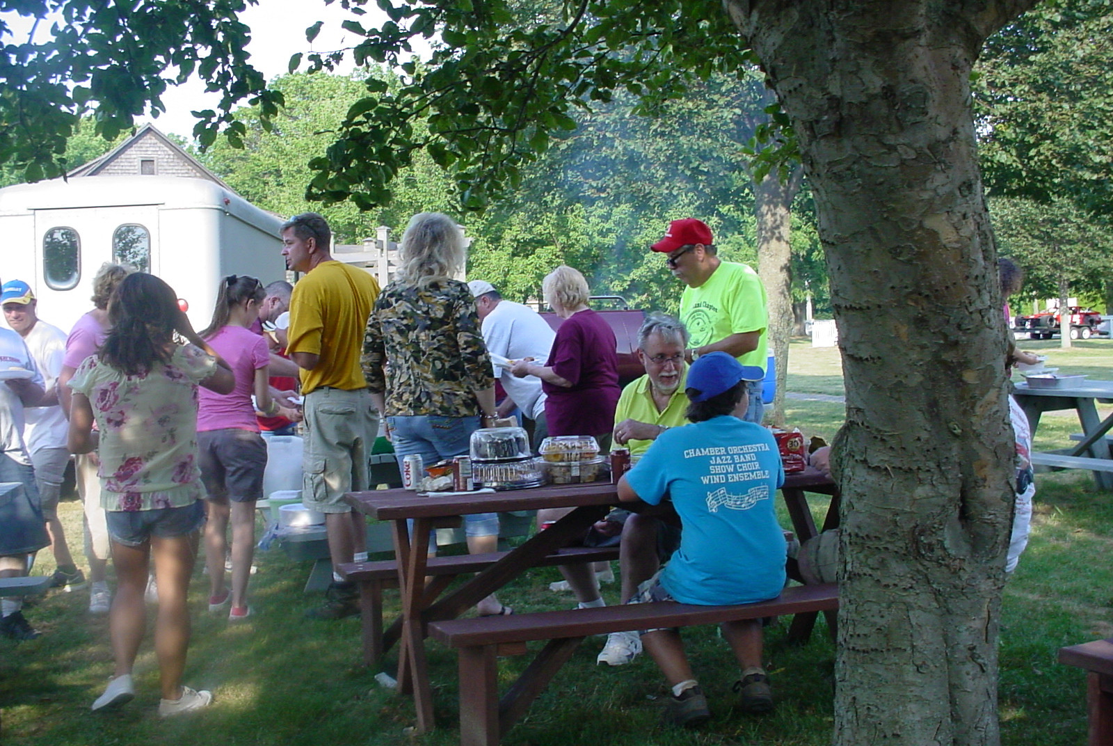 Lining up for food at the family barbecue