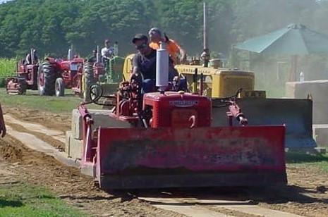 International dozer on pulling track