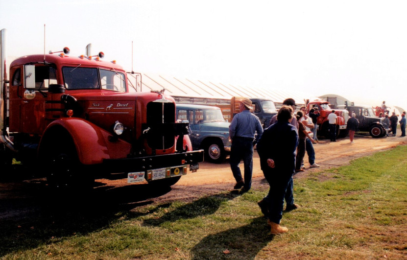 Member's trucks at Talmage Farm in Baiting Hollow