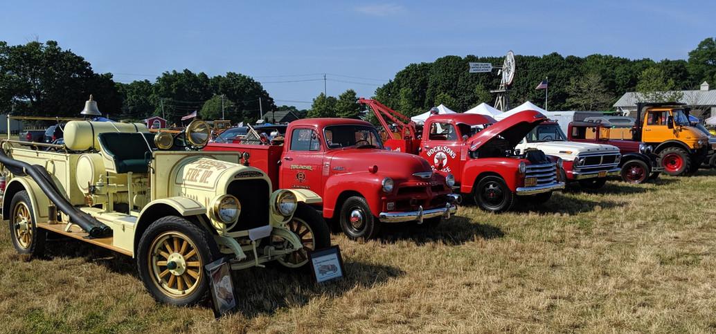 Trucks on the field on Sunday morning