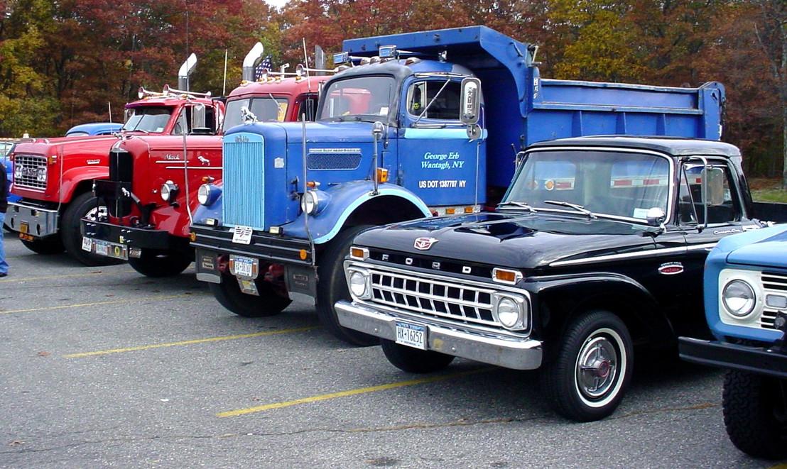 John Keibel Jr's 1969 GMC flatbed, Jonathan Erb's 1949 Mack tractor, George Erb's 1961 White dump, Brent Robedee's 1965 Ford pickup & Ron Bruschi's 1966 Ford Bronco