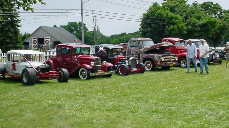 Line up of hot rods