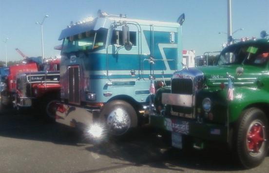 Nick Nuzzi's 1965 Mack tractor, Glenn Ketcham's  1984 Peterbilt COE tractor, Howard Pratt's 1971 Brockway dump, & Jonathan Erb's 1949 Mack tractor