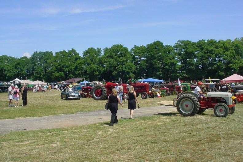 Farm tractors on display