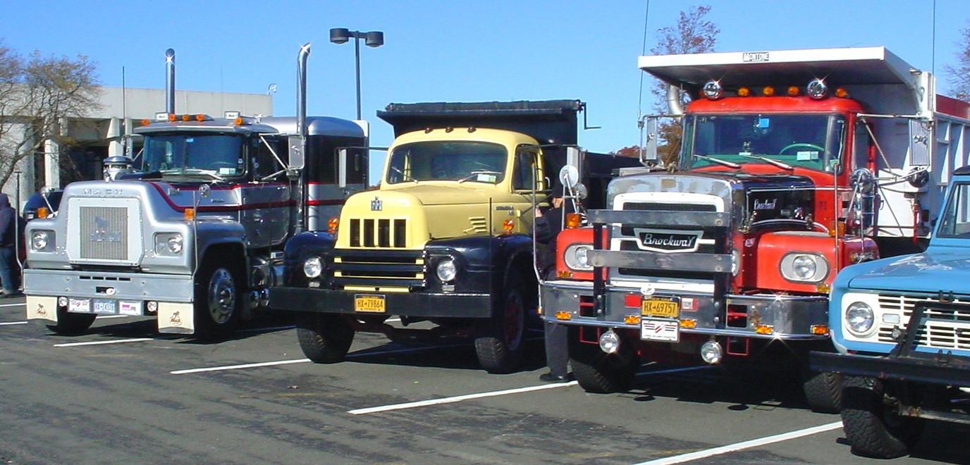 Howard Pratt's 1976 Mack tractor, Craig Kenda's 1962 International dump, Howard Pratt's 1971 Brockway dump, & Ron Bruschi's 1966 Ford Bronco