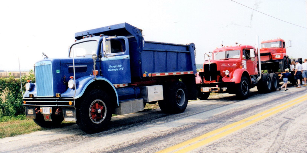 George Erb's 1961 White dump, Jonathan Erb's 1949 Mack tractor & Pat McKeegan's 1962 Brockway tractor lined up for the run
