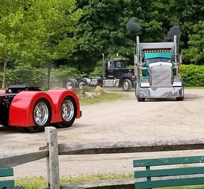 Trucks entering show