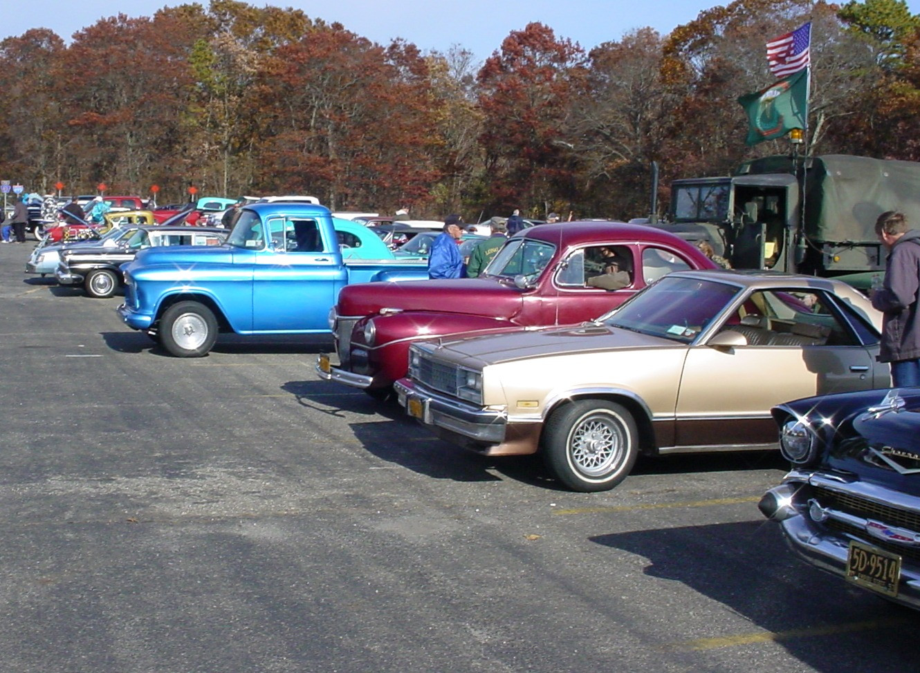 A portion of the vehicles on display