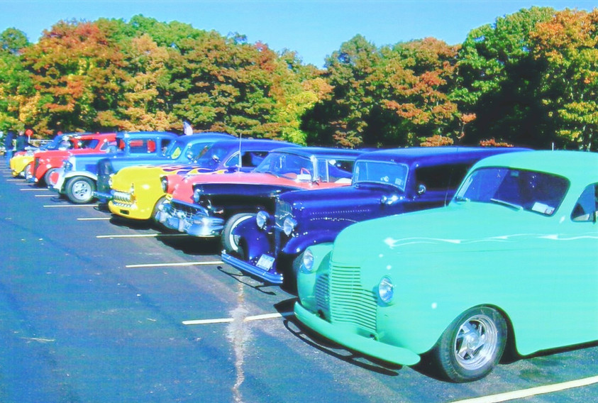Line up of antique cars