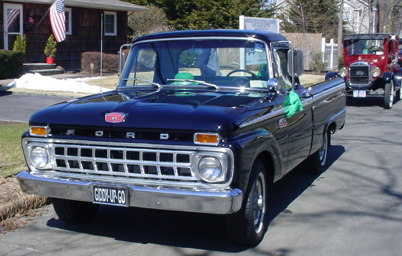 Brent Robedee's 1965 Ford F-100 pickup at the start of the parade