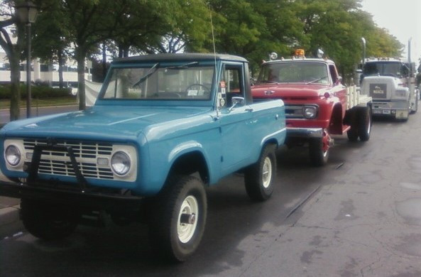 Ron Bruschi's 1966 Ford Bronco, Craig Kenda's 1962 Ford, & Howard Pratt's 1976 Mack