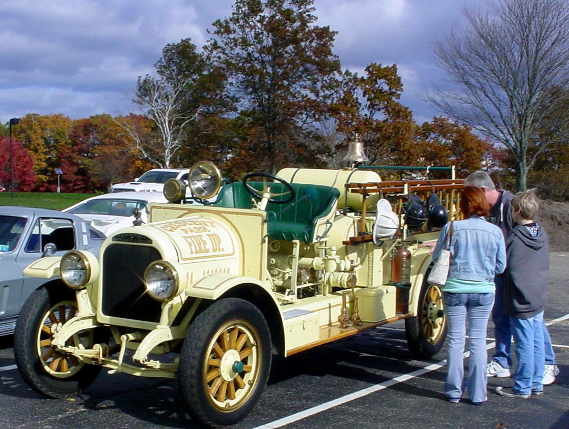 Spectators admiring Phil Huntington's 1923 Brockway fire engine