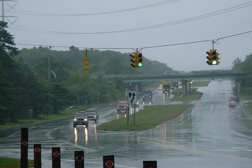 Traveling along a rainy roadway