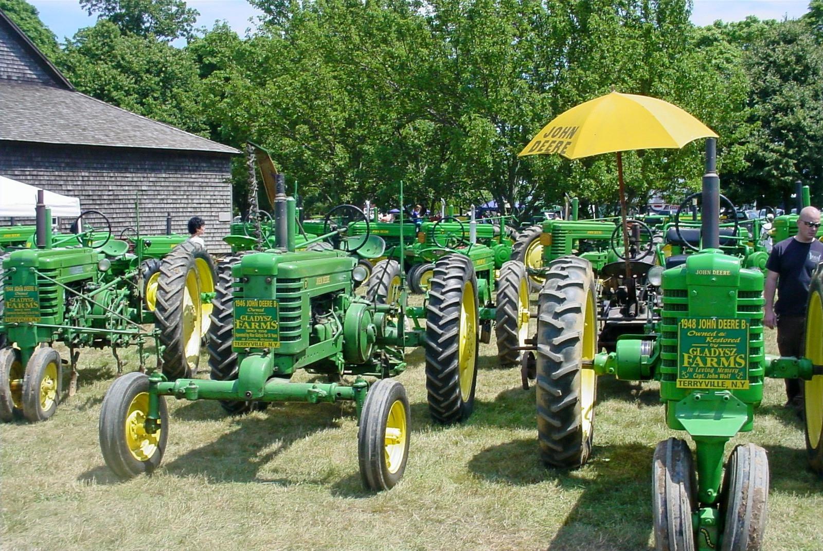 Rows of John Deere tractors