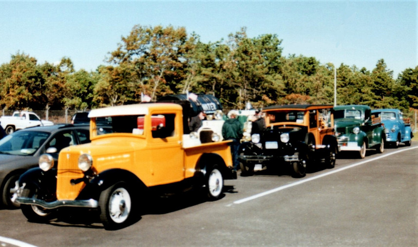 Trucks lined up for the run