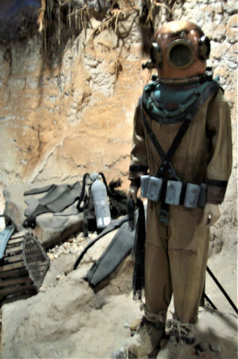 Display of hard hat diving suit