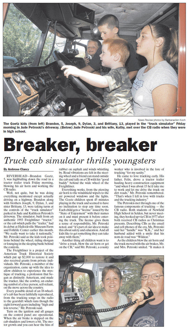 Simulator article in local paper