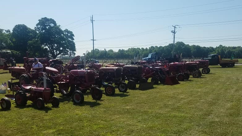 Display of Farmall tractors