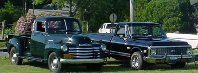 Jude Petroski's 1948 Chevrolet Thriftmaster pickup & Glenn Gray's 1972 Chevrolet C-10 Cheyenne pickup
