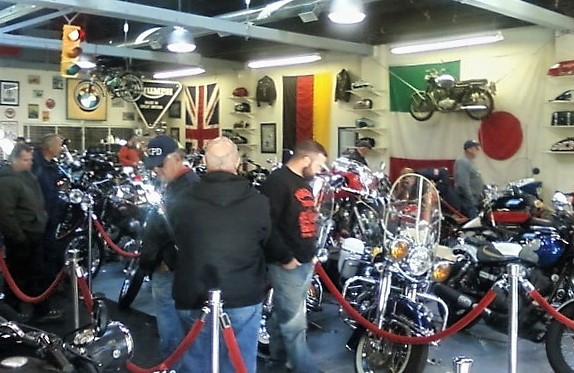 Motorcycles inside the shop