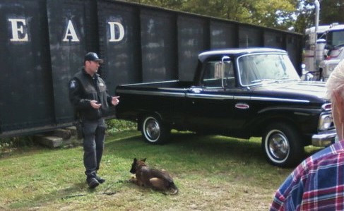NY State Police Officer Andrew Garguilo and his K-9 dog T.J. performing a demonstration