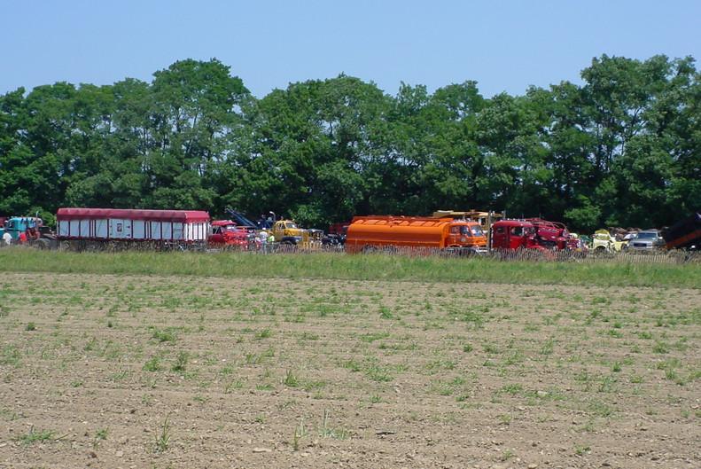 Show trucks across the farm field